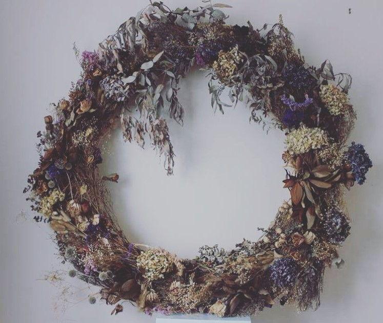 Dried wedding flower wreath